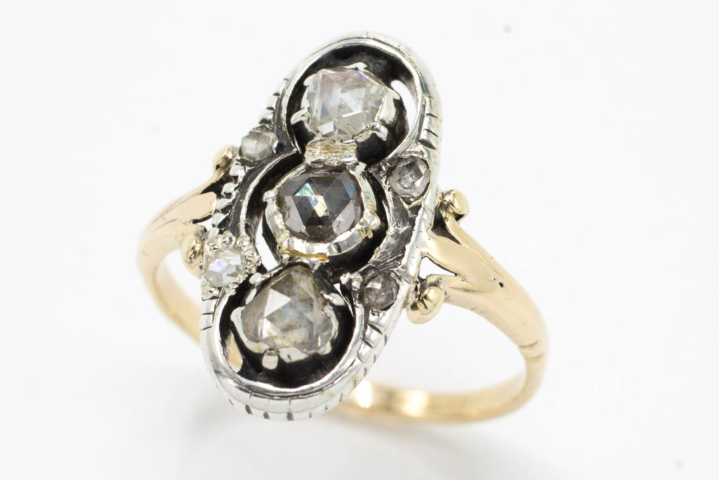 Rose diamond princess ring in 14 carat gold and silver.-Antique rings-The Antique Ring Shop, Amsterdam