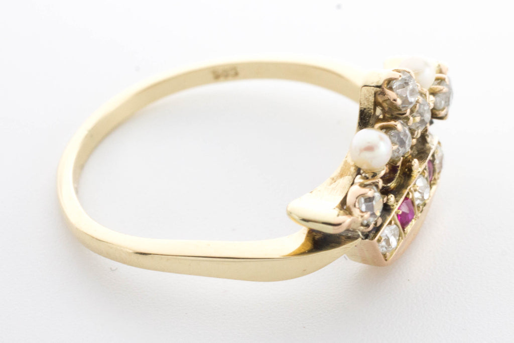Crown ring with diamonds, rubies and pearls.-Antique rings-The Antique Ring Shop, Amsterdam