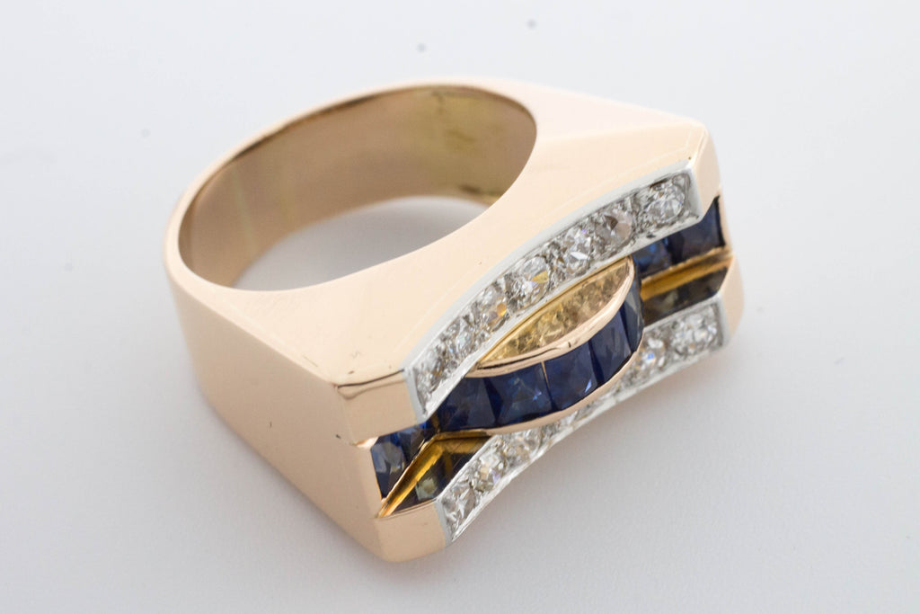 Art Deco style sapphire and diamond ring in rose gold.-Antique rings-The Antique Ring Shop, Amsterdam