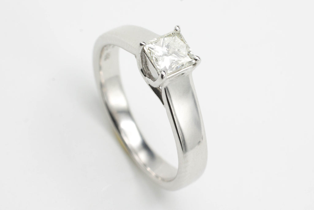 Princess Cut Diamond Solitaire Ring-Vintage & retro rings-The Antique Ring Shop, Amsterdam