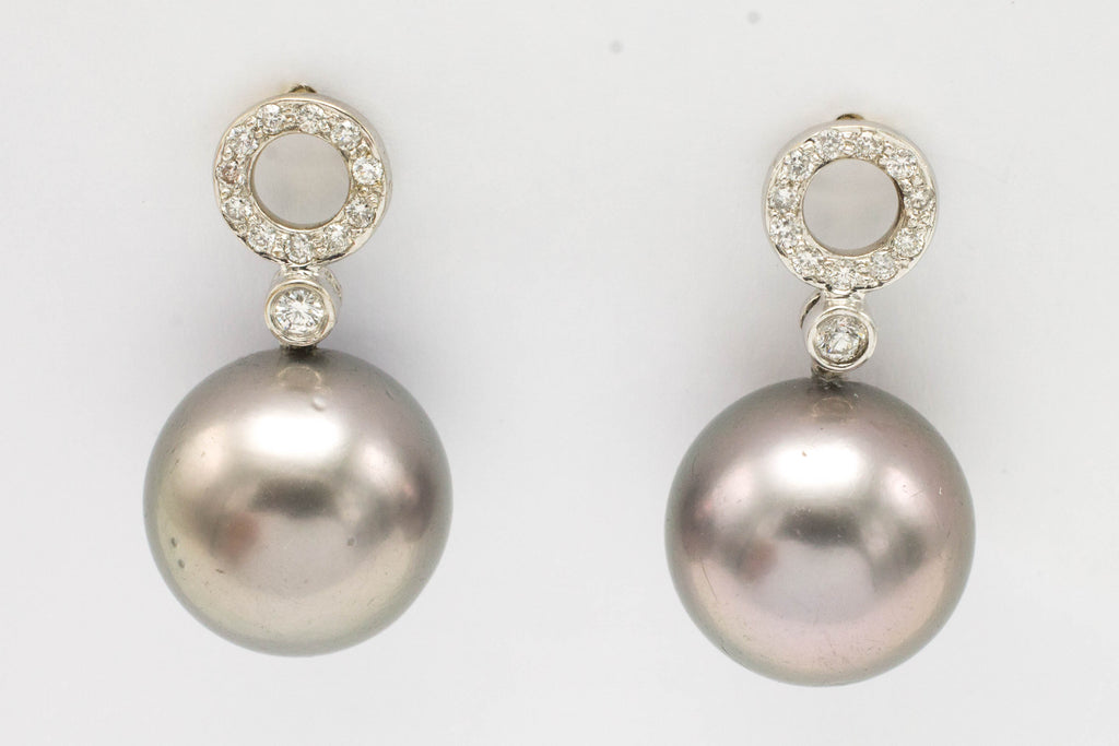 Grey Pearl Pendant Earring with Diamonds-Earrings-The Antique Ring Shop, Amsterdam