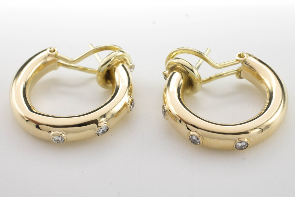 Hoop Earrings with Diamonds-Earrings-The Antique Ring Shop, Amsterdam