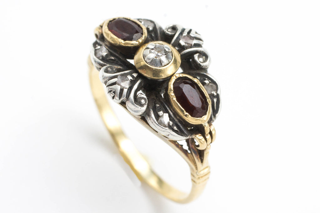 Garnet and rose diamond ring in silver and gold.-Antique rings-The Antique Ring Shop, Amsterdam