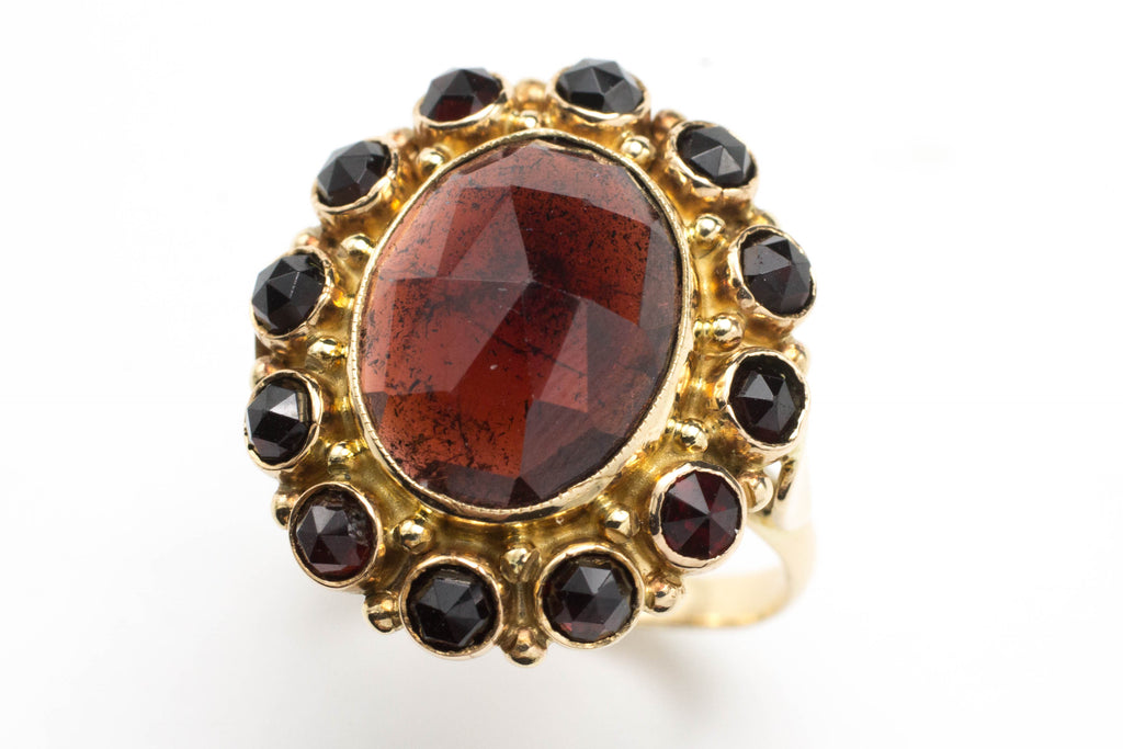 Garnet cluster ring in 14 carat rose gold.-Vintage & retro rings-The Antique Ring Shop, Amsterdam