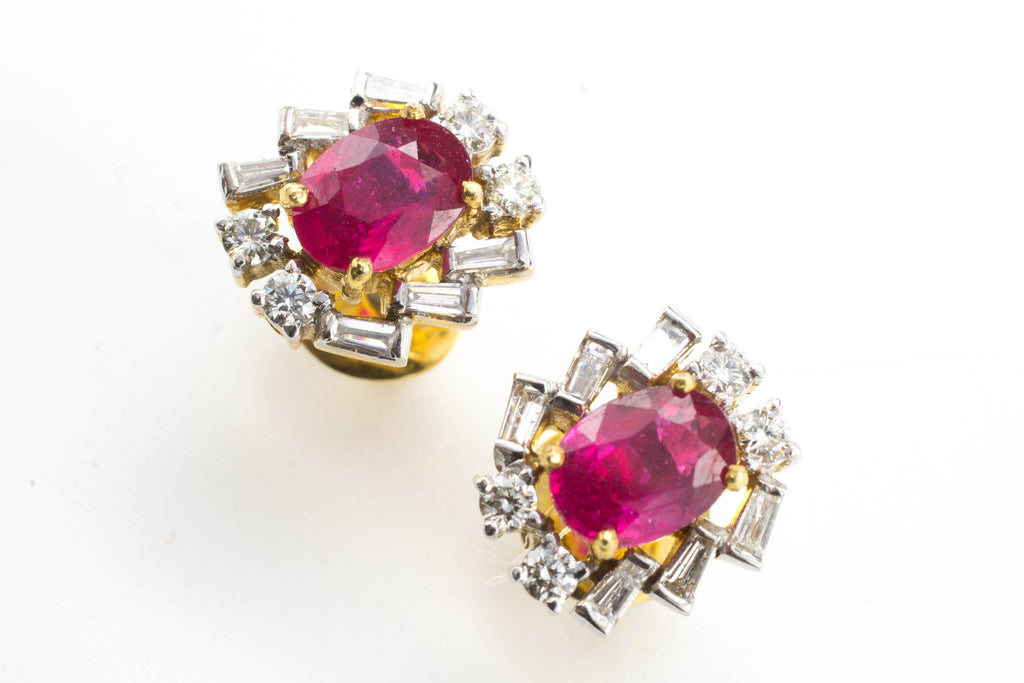 Ruby & Diamond Ear Studs in 18 Carat Gold-Earrings-The Antique Ring Shop, Amsterdam