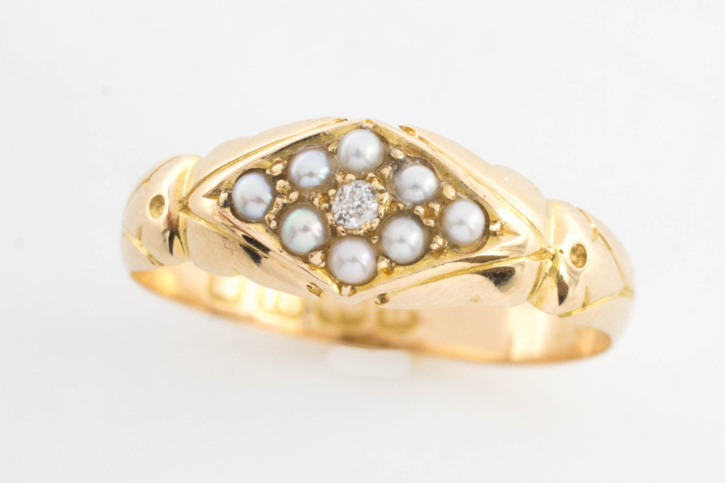 Victorian seed pearl and diamond ring from 1894-Antique rings-The Antique Ring Shop, Amsterdam