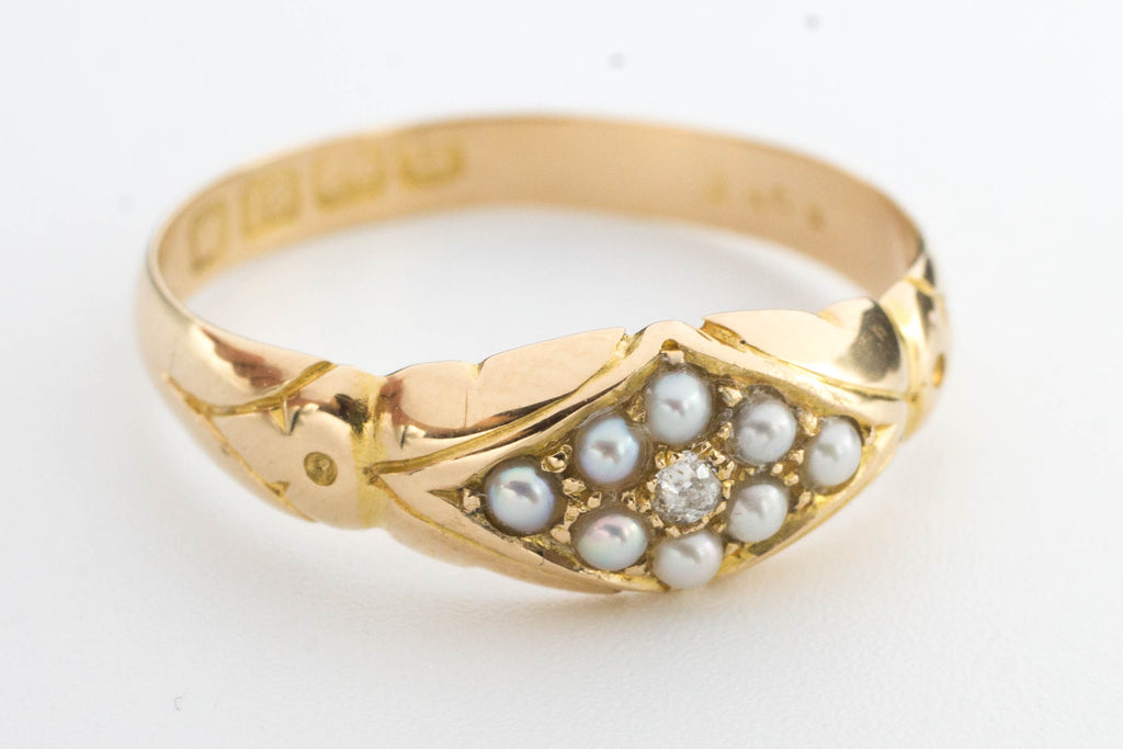 Victorian seed pearl and diamond ring from 1894