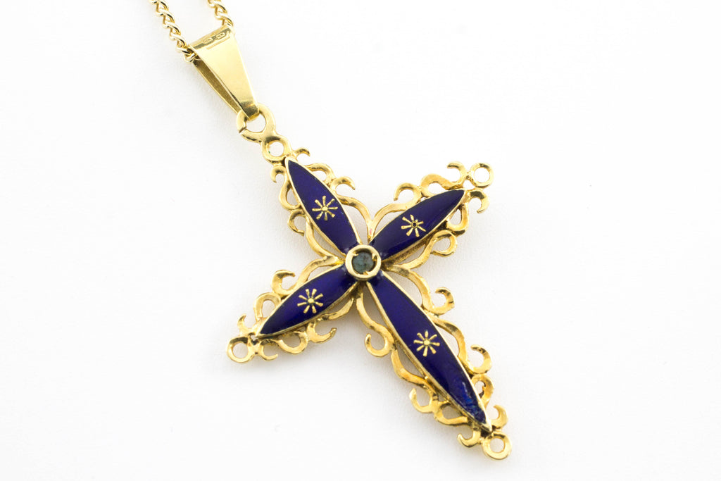 Enamel cross in 18 carat gold-Pendants-The Antique Ring Shop, Amsterdam