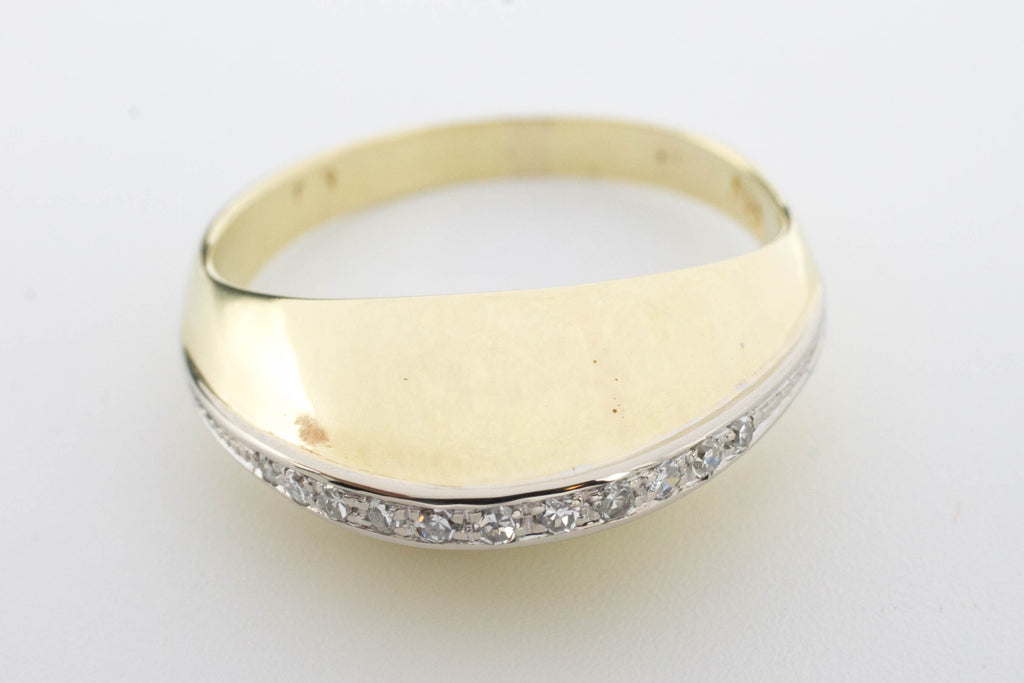 Arch style ring with half cut diamonds in 14 carat gold.-Vintage & retro rings-The Antique Ring Shop, Amsterdam