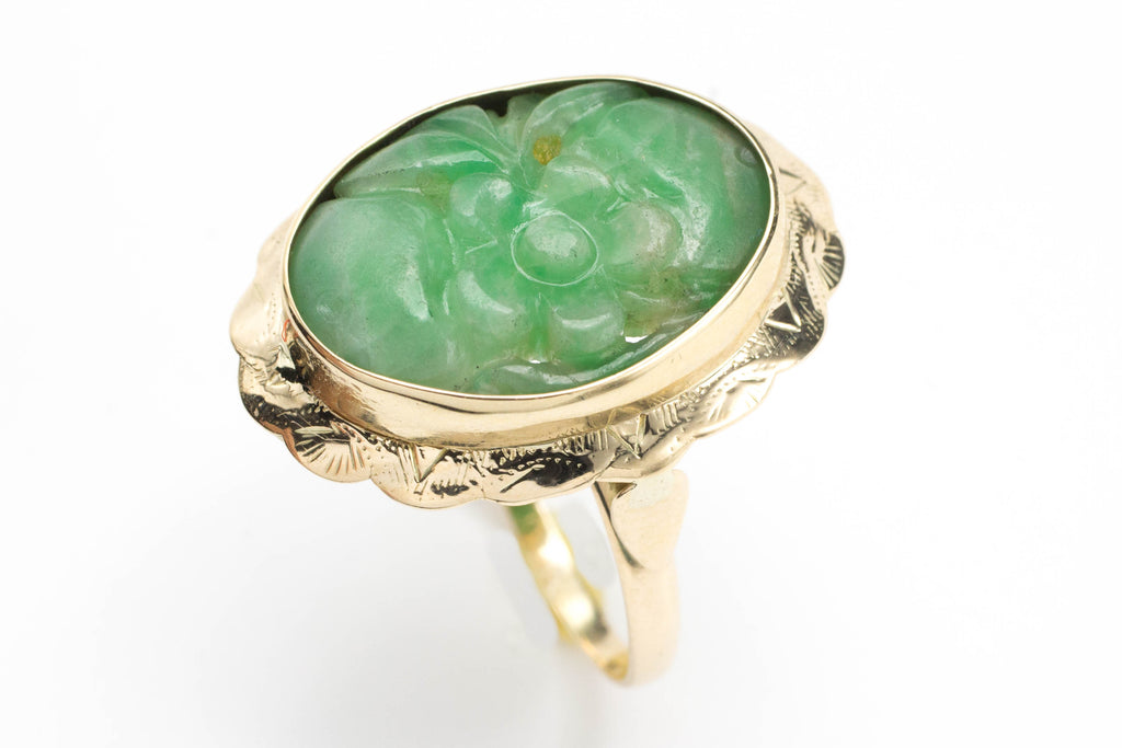 Carved jade ring in 14 carat gold-Vintage & retro rings-The Antique Ring Shop, Amsterdam