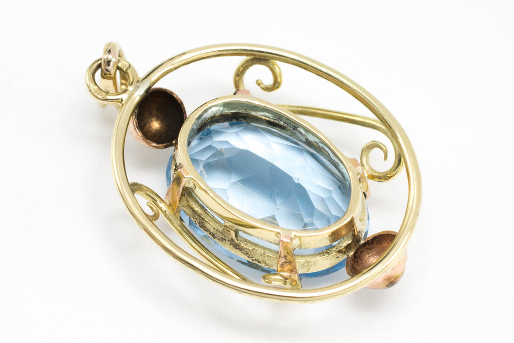 Topaz pendant in yellow and rose gold-Pendants-The Antique Ring Shop, Amsterdam