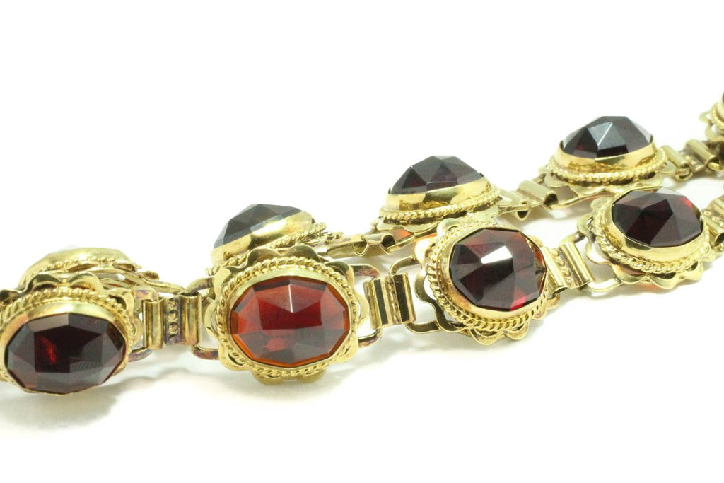 Faceted garnet bracelet in 14 carat gold-Bracelets-The Antique Ring Shop, Amsterdam