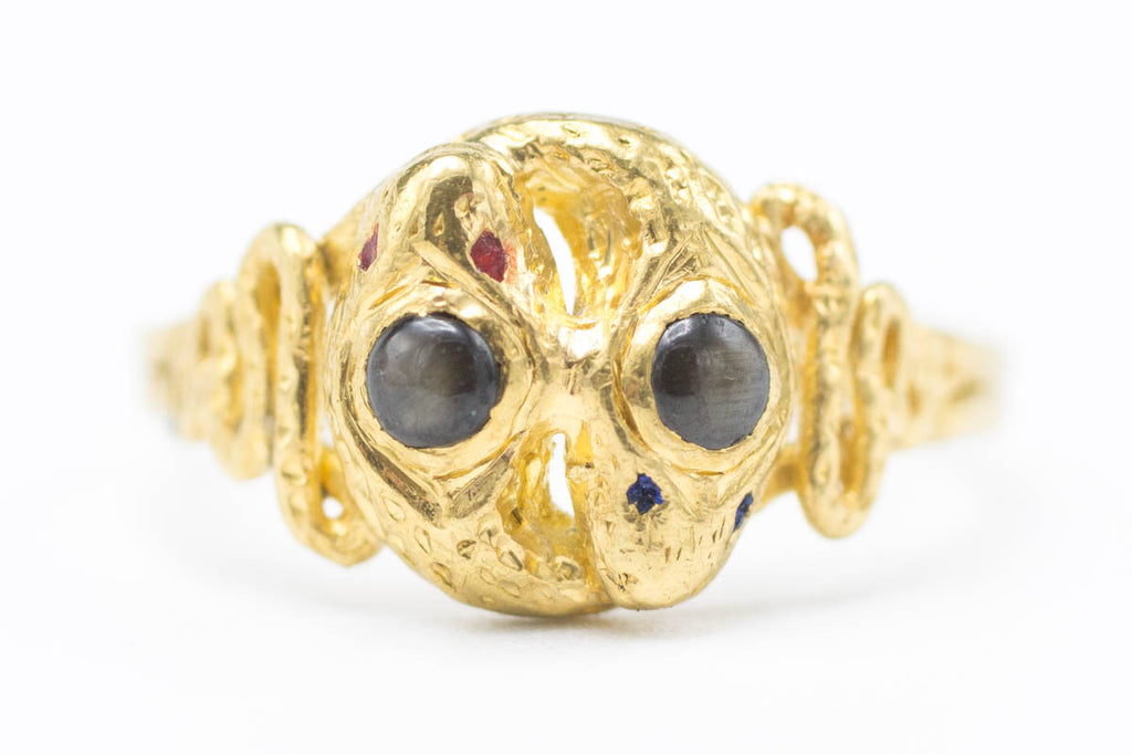 Antique Snake Ring with Star Sapphires-Antique rings-The Antique Ring Shop, Amsterdam
