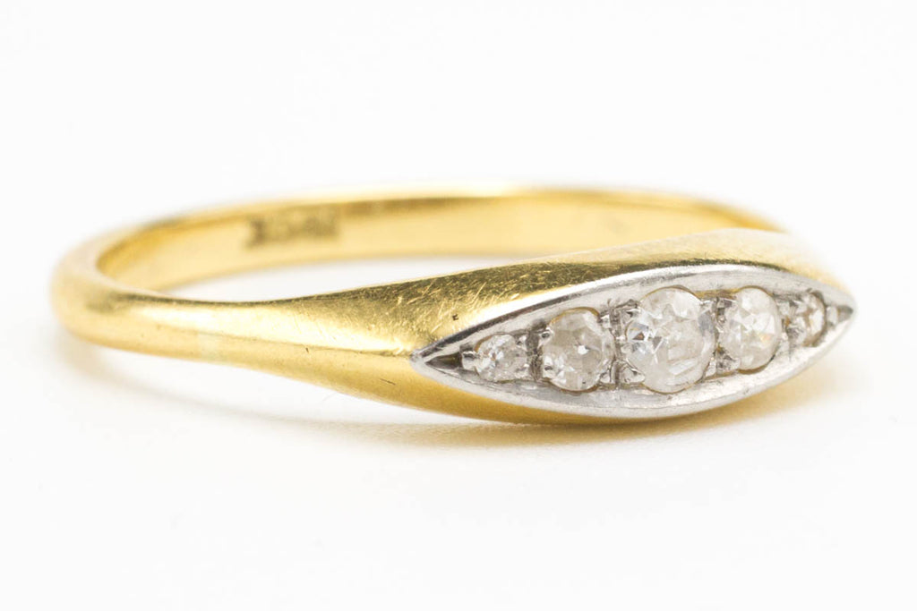Edwardian Five Diamond Gold Ring-Antique rings-The Antique Ring Shop, Amsterdam