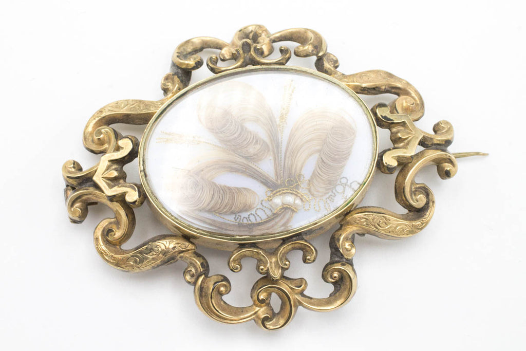 Antique Hair Art Mourning Brooch with Seed Pearls-Brooches-The Antique Ring Shop, Amsterdam