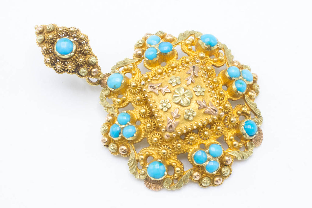 Antique Turquoise & Gold Pendant with Hidden Compartment-Pendants-The Antique Ring Shop, Amsterdam