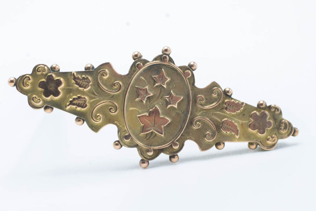 Victorian 9ct Gold Ivy Brooch 1892-Brooches-The Antique Ring Shop, Amsterdam