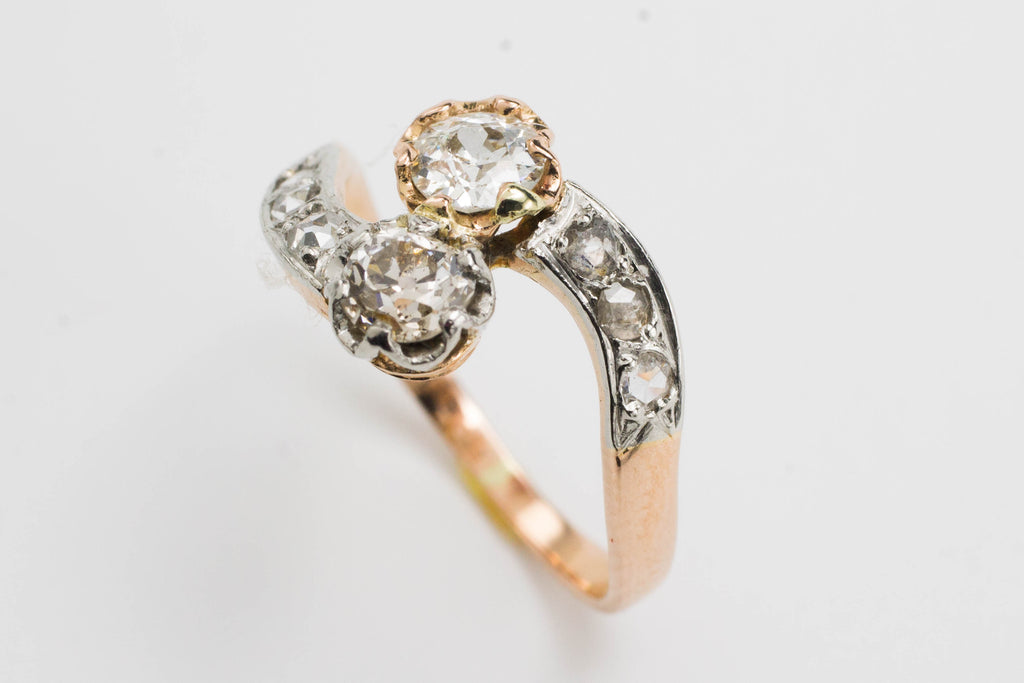 Diamond Toi et Moi ring in 18 carat gold-Antique rings-The Antique Ring Shop, Amsterdam