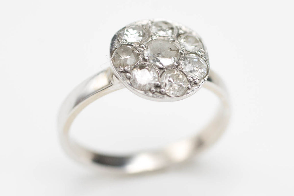 14 Carat White Gold Cluster Ring with 1/2 & Old Cut Diamonds-Antique rings-The Antique Ring Shop, Amsterdam