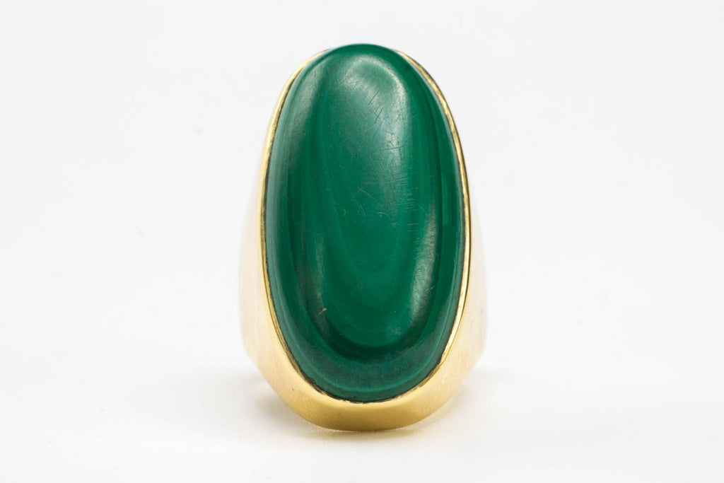 Oval Malachite 14 Carat Gold Ring-Vintage & retro rings-The Antique Ring Shop, Amsterdam