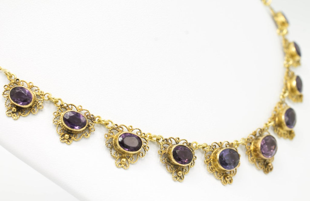 Antique Dutch boat collier with amethyst in 14 carat gold-Pendants-The Antique Ring Shop, Amsterdam