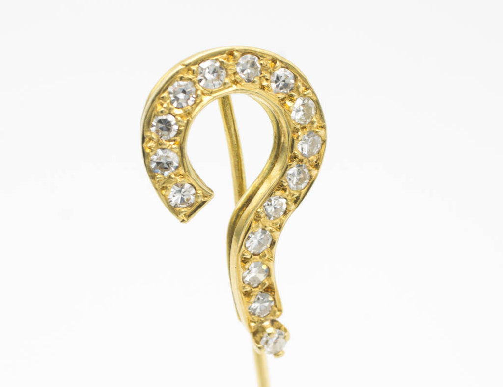 Question mark stick pin with half cut diamonds-Brooches-The Antique Ring Shop, Amsterdam