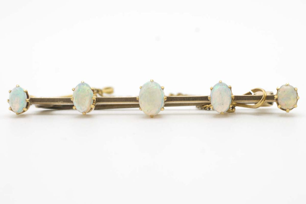 Antique gold bar brooch with five opal stones-Brooches-The Antique Ring Shop, Amsterdam