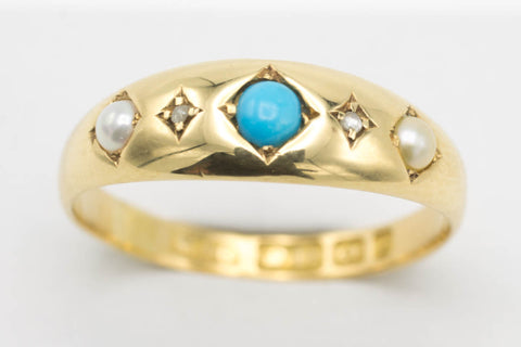 Victorian turquoise and pearl ring from 1898