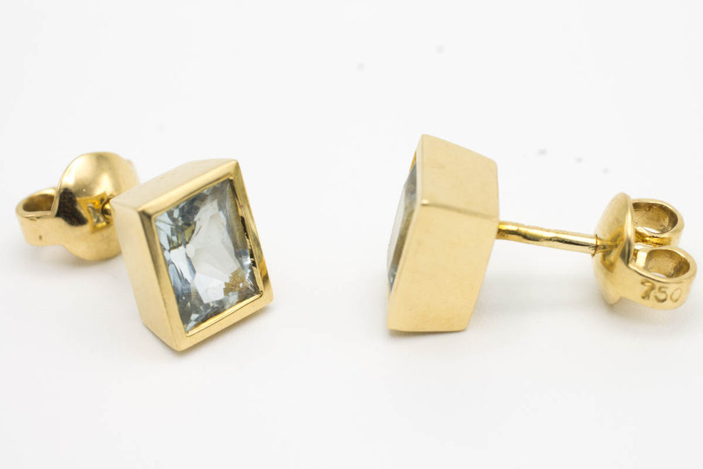 Aqua Marine ear studs in 18 carat gold-Earrings-The Antique Ring Shop, Amsterdam