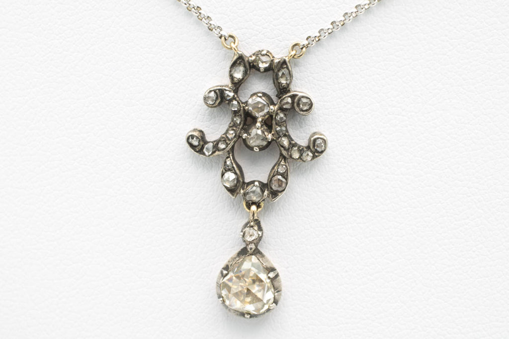 Rose diamond pendant in silver and gold-Pendants-The Antique Ring Shop, Amsterdam