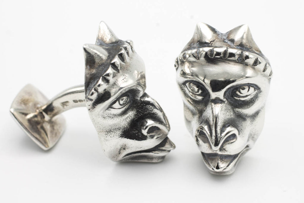 Silver Gargoyle cuff-links-Cuff links-The Antique Ring Shop, Amsterdam