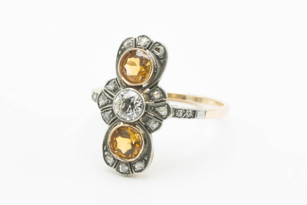 Golden topaz and diamond Art Deco ring-Antique rings-The Antique Ring Shop, Amsterdam