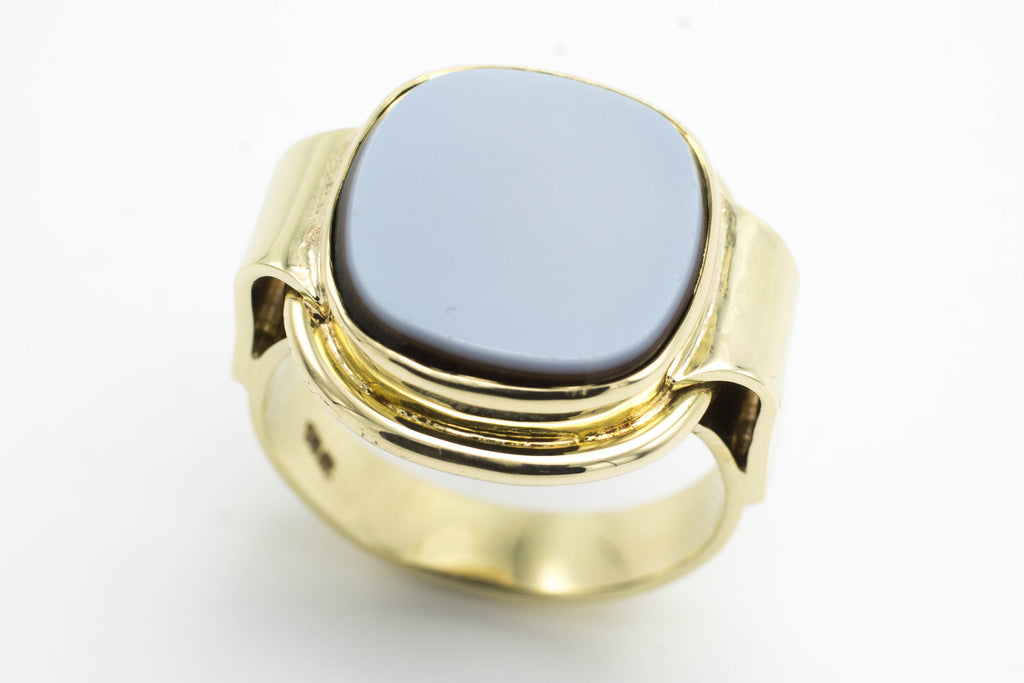 14 carat gold signet ring agate and onyx doublet-Vintage & retro rings-The Antique Ring Shop, Amsterdam