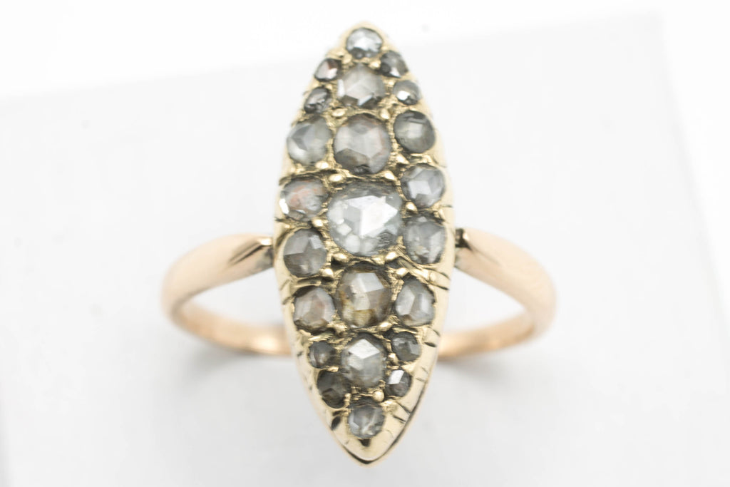 Marquise rose diamond ring in 14 carat gold