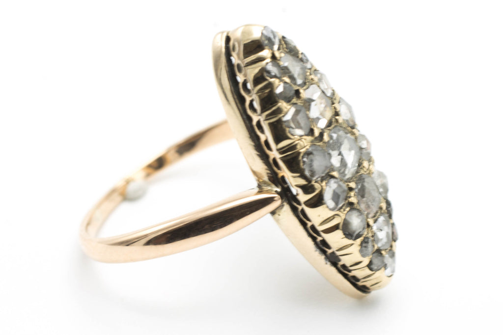 Marquise rose diamond ring in 14 carat gold-Antique rings-The Antique Ring Shop, Amsterdam