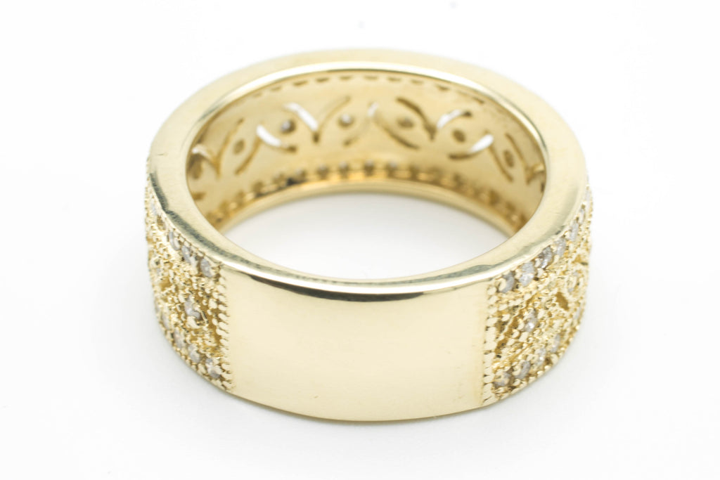 14 carat gold band with diamonds