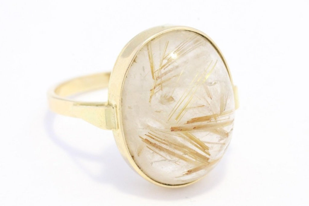 Cabochon rutile quatz ring in 14 carat gold-Vintage & retro rings-The Antique Ring Shop, Amsterdam