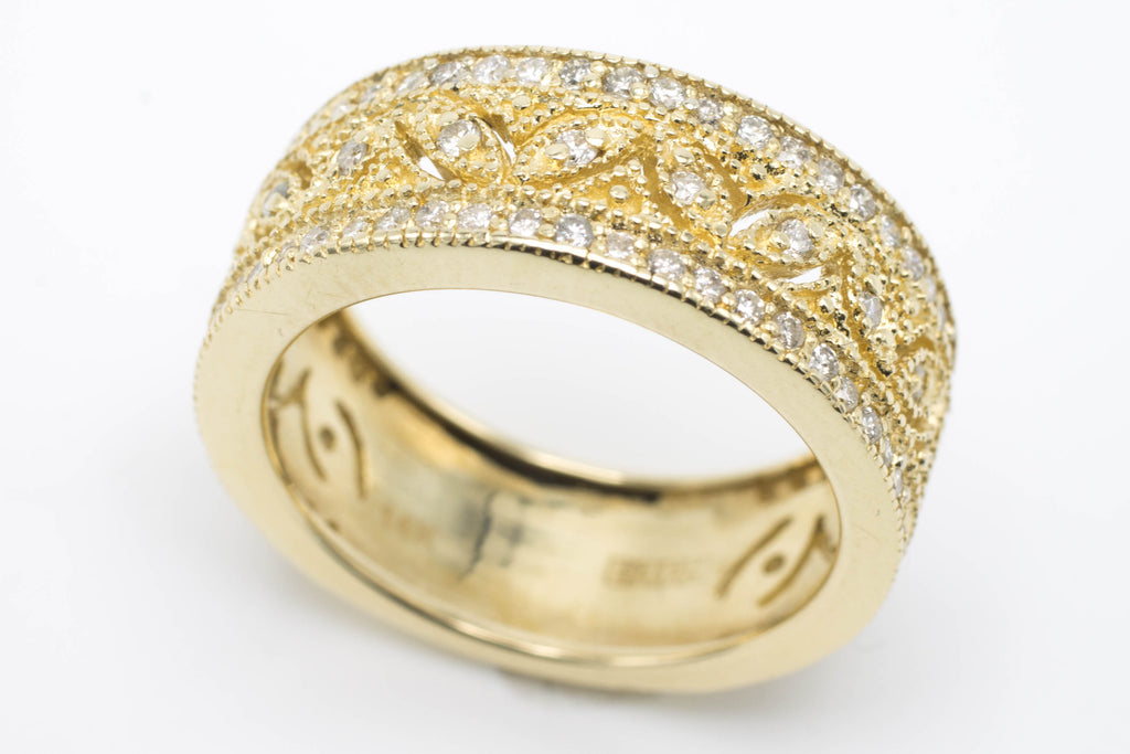 14 carat gold band with diamonds-Vintage & retro rings-The Antique Ring Shop, Amsterdam