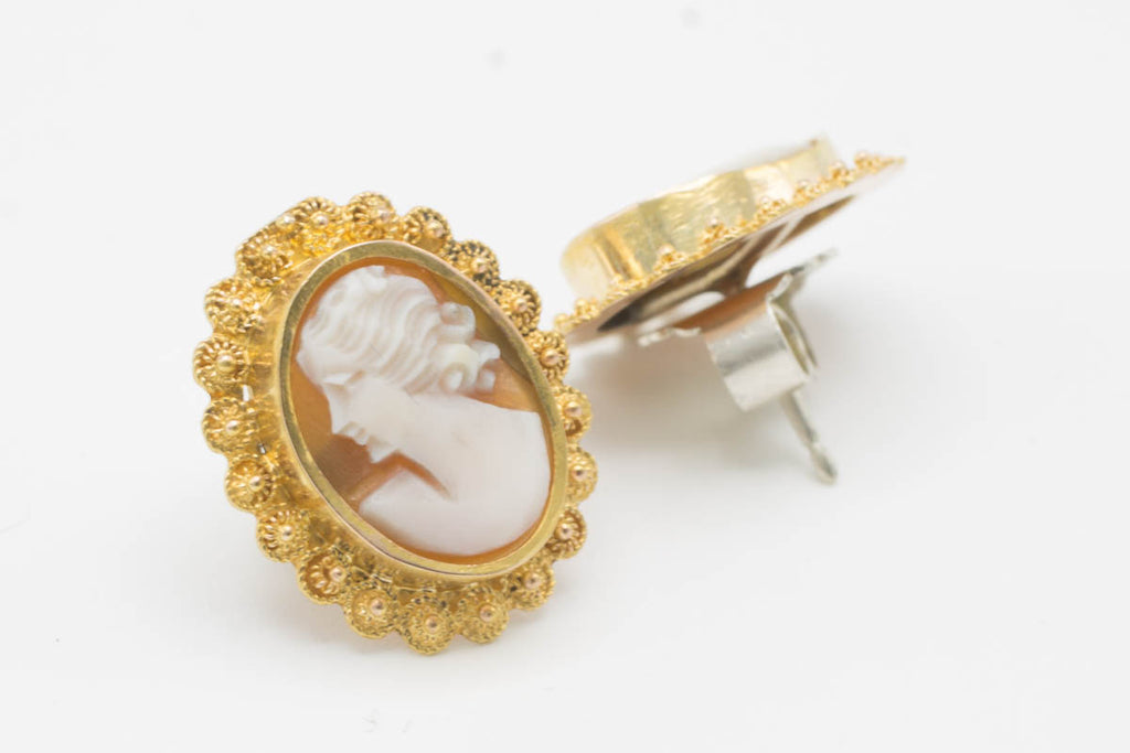 Cameo studs in gold and silver-Earrings-The Antique Ring Shop, Amsterdam