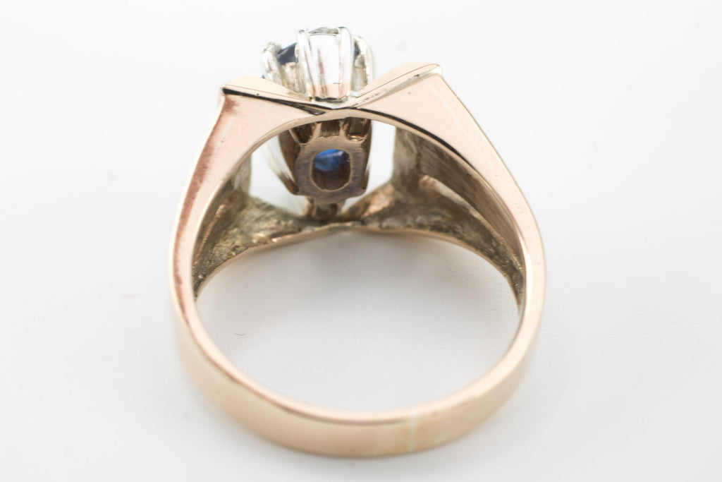 Retro Sapphire doublet and diamond ring-Vintage & retro rings-The Antique Ring Shop, Amsterdam