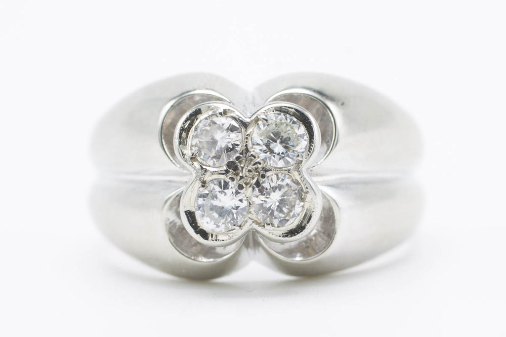 Vintage Dutch white gold diamond ring