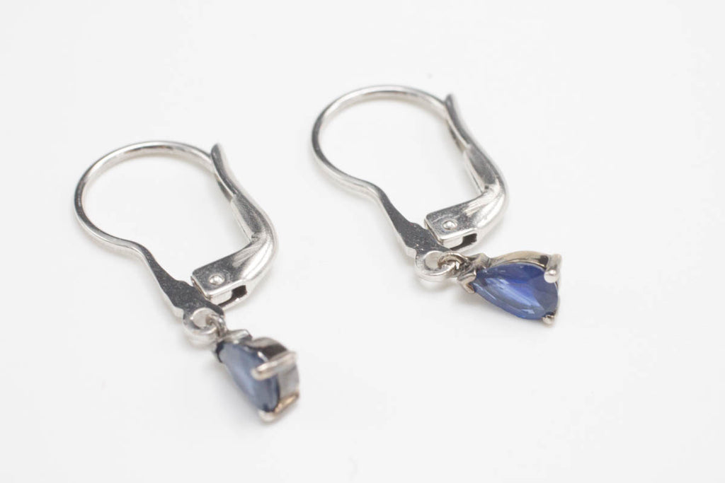 18 Carat white gold & sapphire earrings-Earrings-The Antique Ring Shop, Amsterdam