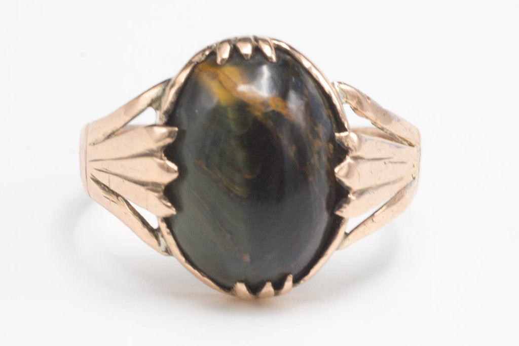 Tigers Eye ring in 9 carat rose gold-Antique rings-The Antique Ring Shop, Amsterdam
