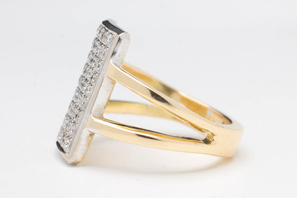 Rectangular diamond cluster ring in 14 carat gold-Vintage & retro rings-The Antique Ring Shop, Amsterdam
