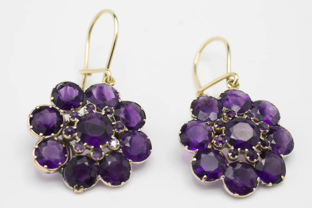 Amethyst flower earrings in 9 and 14 carat gold-Earrings-The Antique Ring Shop, Amsterdam