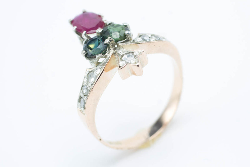 Three leaf clover ring with rose diamond, ruby, sapphire & tourmaline-Vintage & retro rings-The Antique Ring Shop, Amsterdam