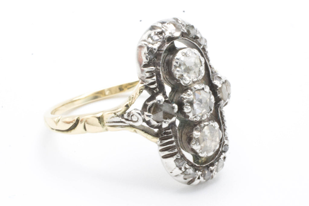 Rose diamond ring in silver and gold-Antique rings-The Antique Ring Shop, Amsterdam