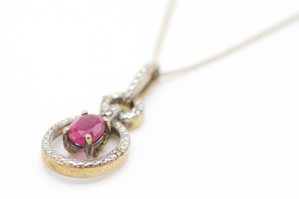 Ruby & Diamond Gold Plated Silver Collier-Pendants-The Antique Ring Shop, Amsterdam