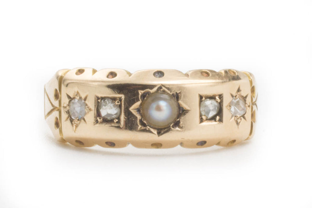 Antique Victorian Rose Diamond and Pearl Ring in 15ct Gold-Antique rings-The Antique Ring Shop, Amsterdam
