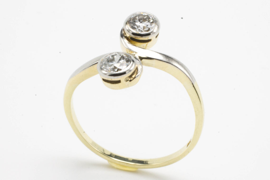 Toi et moi old cut diamond ring in 14 carat gold